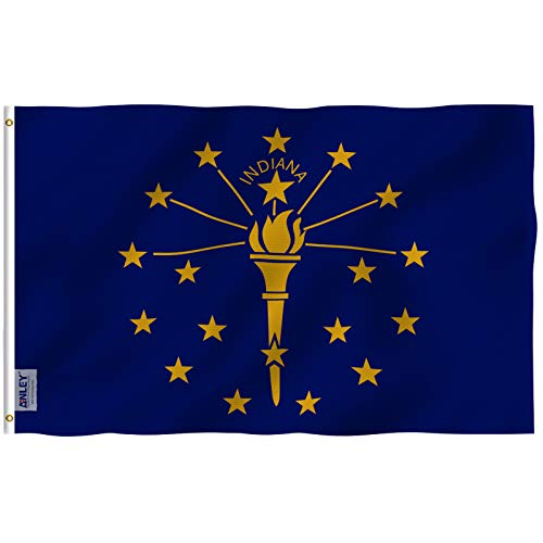 Indiana State Polyester Flag - Anley Fly Breeze 3x5 Foot Indiana State Flag - Vivid Color and UV Fade Resistant - Canvas Header and Double Stitched - Indiana in Flags Polyester with Brass Grommets 3 X 5 Ft