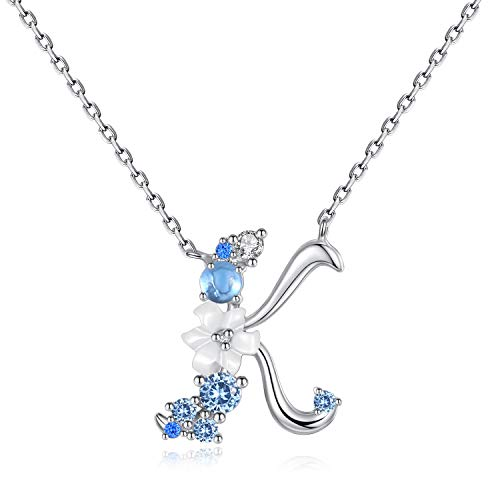 - VIKI LYNN Letter K Initial Necklace 925 Sterling Silver Cubic Zirconia Personalized Gifts for Girls