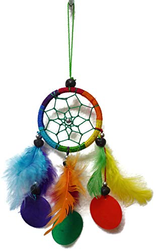 Moose546 Rainbow Dream Catchers Ornaments Small Wind Chime with Feathers, Beads and Capiz Shells, 2.5