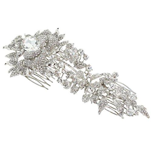 EVER FAITH 7.8 Inch Bridal Silver-Tone Big Flower Teardrop Austrian Crystal Clear Hair Comb