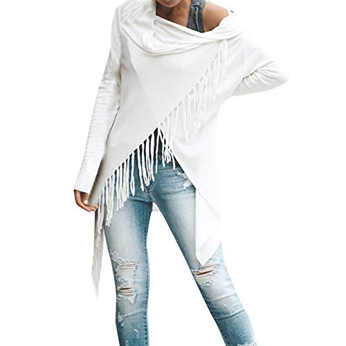 Liraly Sweatshirts For Women New Fashion Women Baggy Cardigan Coat Tassel Knitted Button Shawl Irregular Blouse Autumn Casual Sweater (US-6 /CN-M,White ) by Liraly