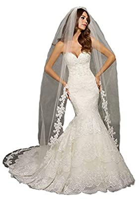 Passat Cathedral wedding veils Edged with Lace Beaded Pearls Rhinestones Bugle Beads VL1041