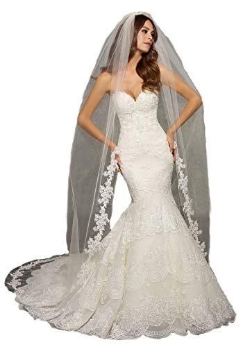 Passat Pale Ivory 1T 3M Cathedral Wedding Veil Edged with Lace, Beaded with PearlsVL1041