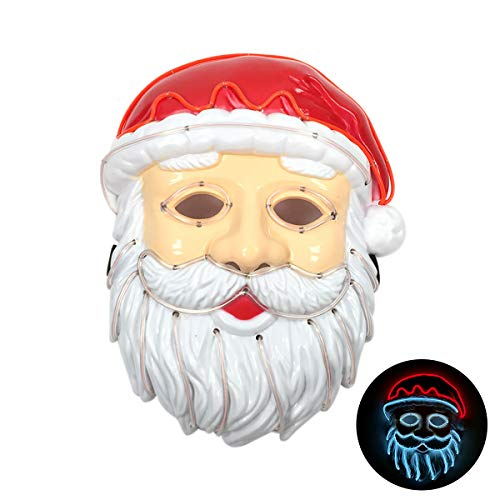 Scary Santa Claus Costume (Yeenee Halloween Mask LED Light Up Santa Claus Purge Mask for Festival Cosplay Costume (Red-White)