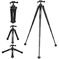 COMAN MT60 Mini Tabletop Tripod Aluminum 24.4 inches 5-Section with Phone Holder and Bluetooth Remote for Gift for DSLR Camera and Smartphone (black)