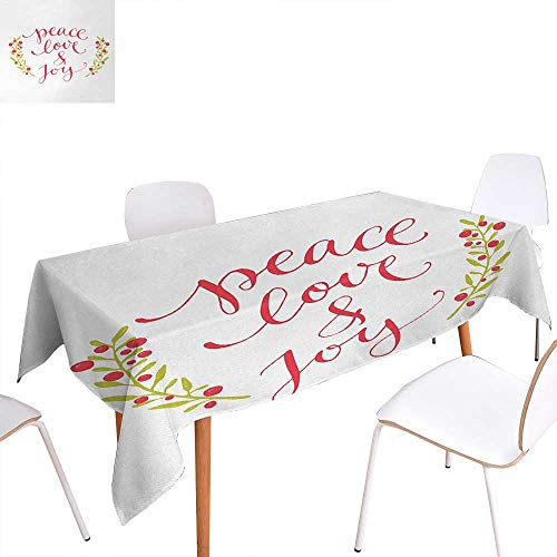 Warm Family Quote Dinning Tabletop Decoration Peace Love and Joy Calligraphic Xmas Text with Winter Berries Wreath Table Cover for Kitchen 60