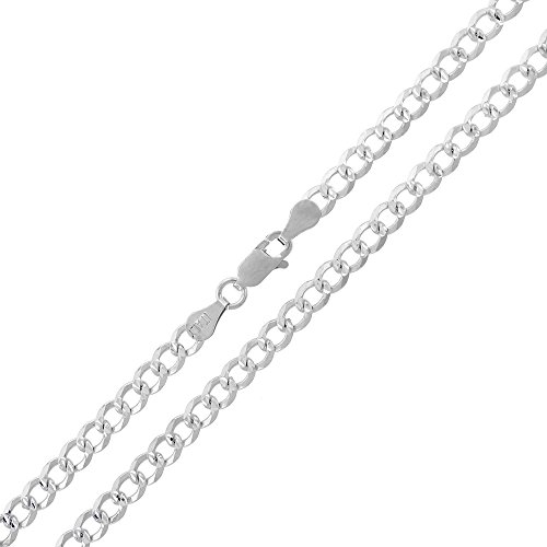 Solid Fancy Link (.925 Sterling Silver 4mm Solid Cuban Curb Link Diamond Cut Pave ITProLux Necklace Chains 16