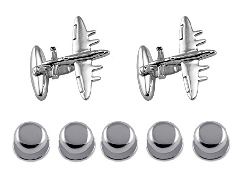 Studs Sterling Silver Gift Shirt Cufflinks Set Dress Plane Bomber SfSPwqY