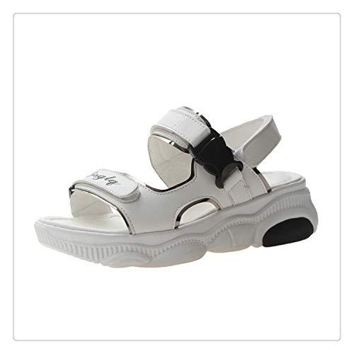 QQFLRB& Size 35-40 2019 New Summer Letters Sandals Women Flat Heels Soft PU Leather Wild Shoes Women Leisure Platform Female Footwear White 5