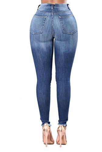 MYX Elásticos Jeans Darkblue Florales Jeggings De Mujeres Ajustados Embroisery Jeggings Las A rraqOB