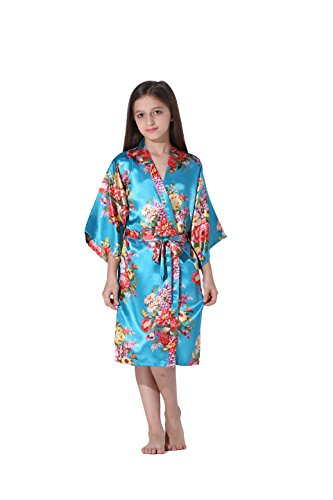Flower Print Satin - Vogue Forefront Girls' Floral Print Satin Kimono Robe Bathrobe, Size 14, Sky Blue