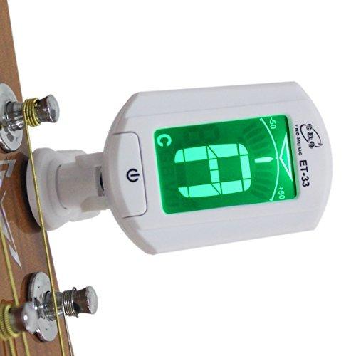 - eno ET 33 Chromatic Tuner Mini Auto Chromatic Tuner Clip for Guitar Bass Violin Ukulele, White