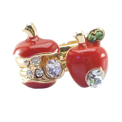 DaisyJewel Adjustable Apple Ring Set Snow White & the Queen Red Poison Apple Resizable Gold Ring Pair