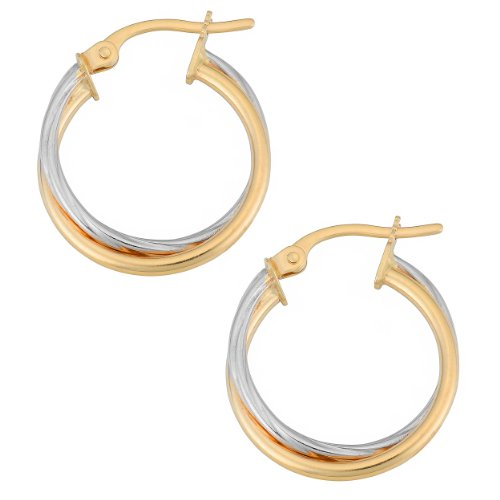 14k Two-Tone Gold 1.5x15mm Double Hoop Earrings (Gold White Double Hoop)
