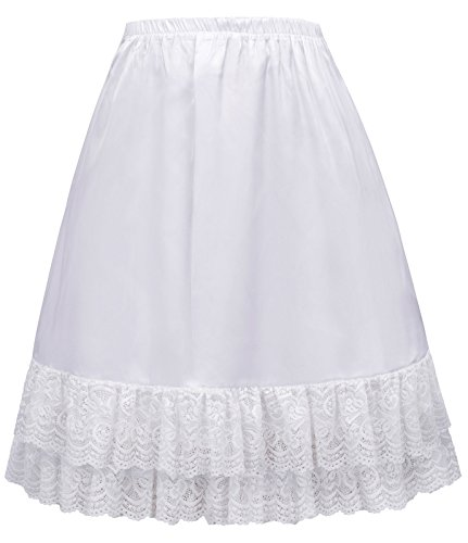 Women Lace Satin Underskirt Snip-it Halp Slip Size XL White (Petticoat Womens Lace)