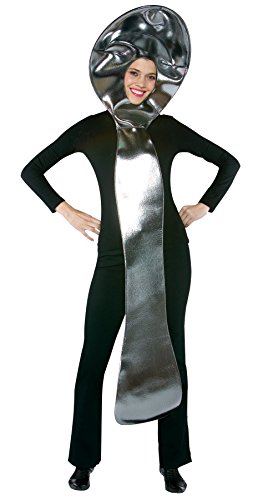 UHC Comical Spoon Tunic Funny Theme Party Outfit Halloween Fancy Costume, (Silver Superhero Wig)