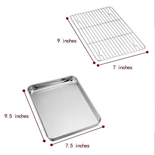 TeamFar Toaster Oven Pan Tray with Cooling Rack, Stainless Steel Toaster Ovenware broiler Pan, Compact 8''x10''x1'', Healthy & Non Toxic, Rust Free & Easy Clean - Dishwasher Safe by TeamFar (Image #7)