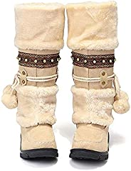 Women's Winter Mid Calf Boots Ladies Leather Low Flat Ankle Riding Boots Knee Short Boots Western Cowgirl