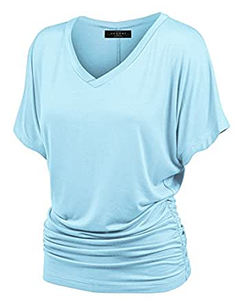 Made By Johnny WT1037 V Neck Short Sleeve Dolman Top with Side Shirring XS Aqua