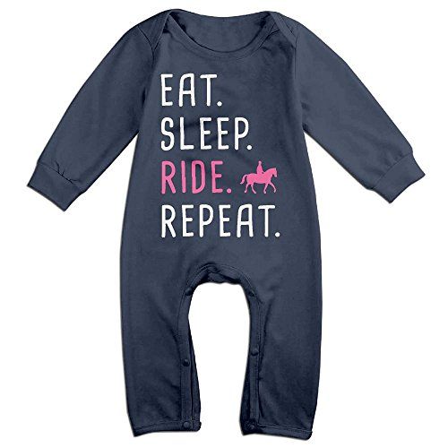 Baby Boy Girl Coverall Eat Sleep Ride Horses Repeat Infant Long Sleeve Romper Jumpsuit (Eat Ride Horse Sleep)
