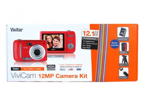 12MP Camera Kit Digital Camera In Strawberry With Free Bundle Accessories Case,SD Card,Card Reader And more