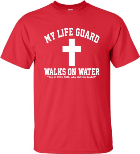 Medium Red Adult My Life Guard Walks On Water Christian Easter Religious Facebook T-Shirt