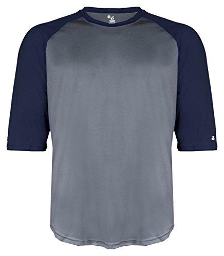 Badger Performance 3/4 Sleeve Raglan-Sleeve Baseball T-Shirt 4133 Graphite/Navy XL