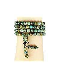 jennysun2010 Handmade Multi-Purpose Natural 6mm Gemstone Buddhist 108 Beads Prayer Mala Stretchy Bracelet Necklace Healing