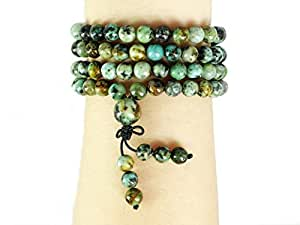 "jennysun2010 Handmade Multi-Purpose Natural 6mm African Turquoise Gemstone Buddhist 108 Beads Prayer Mala Stretchy Bracelet Necklace Healing 26"" (inches)"
