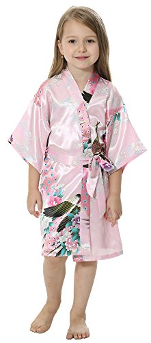 JOYTTON Girls' Satin Kimono Robe For Spa Party Wedding Birthday (14,Pink)