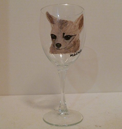 Fawn Chihuahua Dog Wine Glass Hand Painted by Pet Lovers Boutique