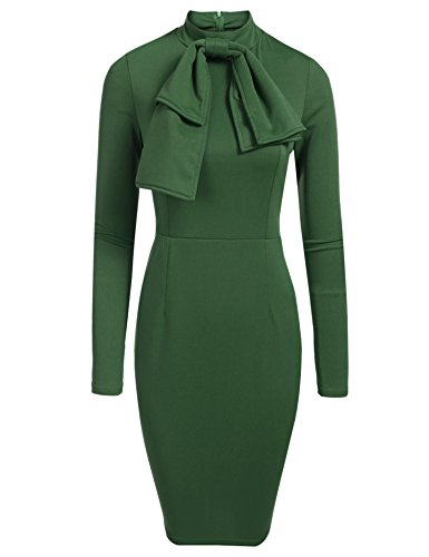 Miu Miu Green - SE MIU Women Long Sleeve Bow-Knot Wear to Work Business Cocktail Pencil Dress Green S