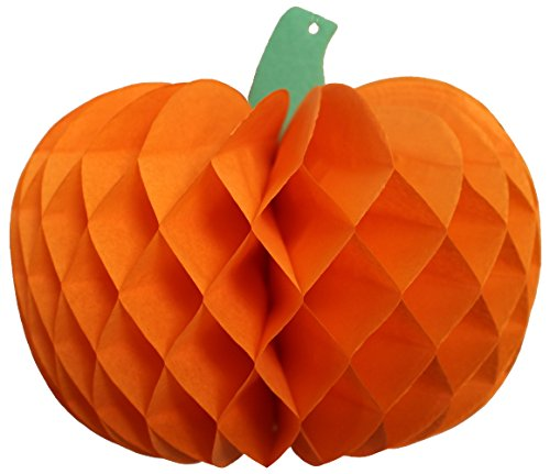 3-Pack 10 Inch Tissue Pumpkin Decoration, Orange -