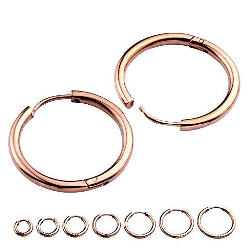 JOVIVI 14pc 8-20mm 18G Unisex Stainless Steel Rose Gold Round Cute Small Hoop Earrings Piercing Jewelry