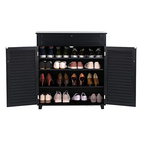 (Topeakmart 3 Shelves Modern Shoes Storage Cabinet with 1 Drawer 2 Doors Entryway Hallway Black)