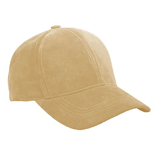 Emstate Suede Leather Unisex Baseball Caps Various Colors Made in USA (Khaki/Nude) ()