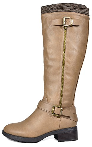 Available Pu Women's Khaki DREAM High Knee Riding Boots Wide PAIRS Calf 7wvqwz8