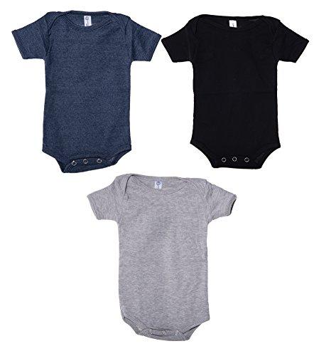 Mato & Hash Unisex Baby Cotton Infant Baby Toddler One Piece Lap Shoulder Jumpsuit - 3PK H.Grey/H.Navy/Black CA165 (Vinyl Jumpsuit)