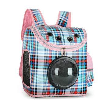 (Plaid Pattern Transparent Window Design Cover Breathable Pet Travel Storage Bag Cat Dog Carrier Space Backpack - Dog Dog Carriers - (Blue))