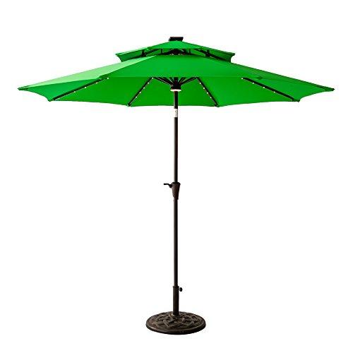 FLAME&SHADE 9 foot Solar Power LED Lights Double Top Outdoor Patio Market Umbrella with Crank Lift, Push Button Tilt, Apple Green (Outdoors Green Top)