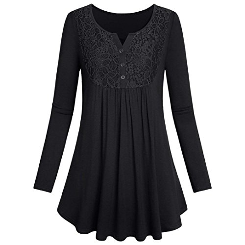 Womens Long Sleeve Tops Button Lace Top Casual Layered Shirt Blouses -