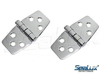 "SeaLux Marine Grade Stainless Steel Mirror Polished Door Hinge 3"" x 1.5"" for Boat, RVs (Pair)"