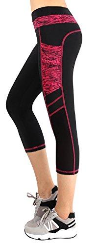 Cheap Neonysweets Women's Ladies Gym Exercise Workout Yoga Capri Pants Running Shorts Black Rose M