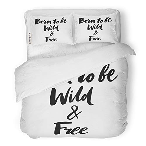 Emvency Bedding Duvet Cover Set Drawn Motivation Hand Lettering Born to Be Wild and Free Heart Young Black 3 Piece Twin 68