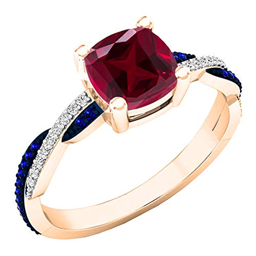 Dazzlingrock Collection 18K 6 MM Created Cushion Ruby & Round Blue Sapphire & Diamond Ring, Rose Gold, Size 7