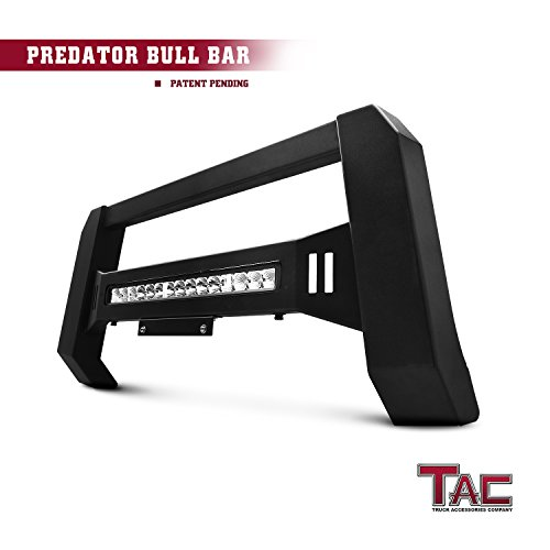 TAC Predator LED Lighting Modular Bull Bar for 2007-2018 Chevy Silverado / GMC Sierra 1500 LD Pickup Truck Front Brush Bumper Grille Guard Fine Textured Black with LED Off-Road Lights (Set Complete Wiring Truck)