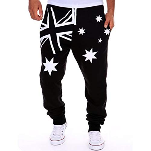 iYYVV Fashion Mens Loose Printed Casual Pocket Sports Corset Trousers Joggers Pants Black