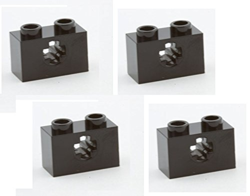 Lego-Parts-Technic-Brick-1-x-2-with-Axle-Hole-PACK-of-4-Black