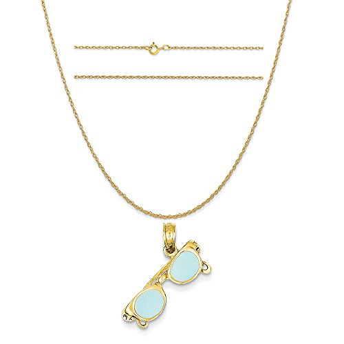 14k Yellow Gold Aqua Enameled Sunglasses Pendant on 14K Yellow Gold Carded Rope Chain Necklace, - Sunglasses C K