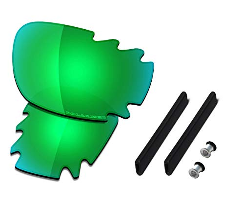 Saucer Premium Replacement Lenses & Rubber Kits for Oakley Jawbone Vented Racing Jacket Sunglasses High Definition - Jade Green Polarized ()
